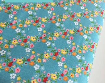 SALE Backyard Roses fabric, Backyard Roses Wreath in Blue fabric, Discount fabric, Riley Blake Fabrics, Fabric by the yard, Choose your cut