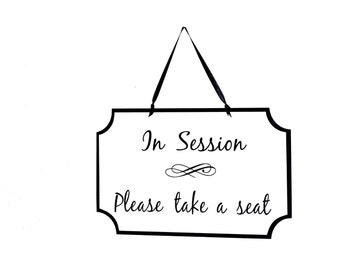 Wooden Sign Business Plaque, Therapist Workplace, Counselor Office Door Hanging, Massage Therapy Signage In Session Take a Seat Notice Quiet