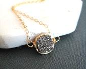 Silver Druzy Necklace Silverado druzy choker drusy necklace mixed metal layering necklace Under 50