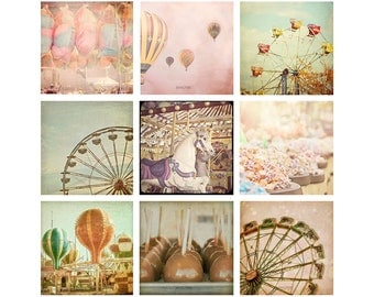 Carnival Photo Set, Hot Air Balloons, Ferris Wheels, Set of Nine Prints, Carnival Pictures, Kids Room Wall Art, Carnival Photography