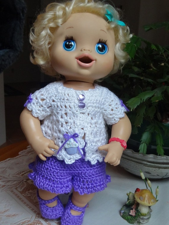 Crochet Outfit Baby Alive Doll 16 17 Inch Set Purple White