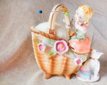 Vintage little girl with Pet Dog sitting in Basket Planter remade into Pin Cushion