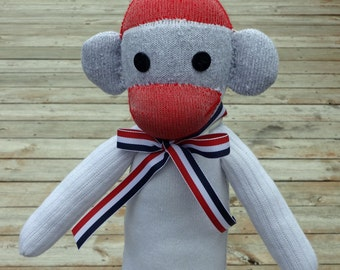 White Red Sock Monkey Doll - Sock Toy - Americana Sock Monkey