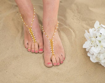 Barefoot Sandals Foot Jewelry Gold White Wedding Anklet Toe Ring Beach Boho Soleless
