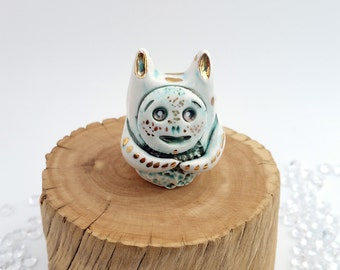 Ceramic Monster Totem White Gold and Green