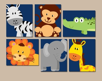 JUNGLE Animal Wall Art, Canvas or Prints, Boy Girl Nursery Decor, Safari Zoo Animals, Zebra Monkey Elephant Lion, PLAYROOM Decor, Set of 6