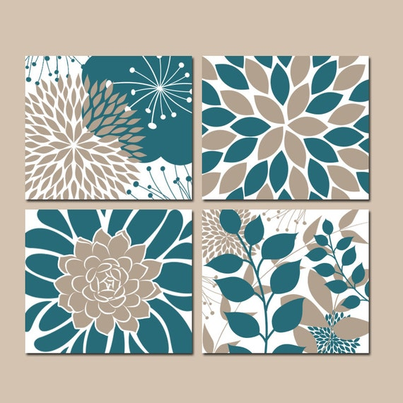 Teal Flower Wall Decor : Floral wall art teal bedroom pictures canvas or prints