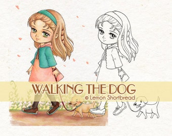 Digital Stamp Girl Walking Dog, Puppy Digi Coloring Page, Cute Animals Pets, Autumn, Anime Children Clip Art, Instant download