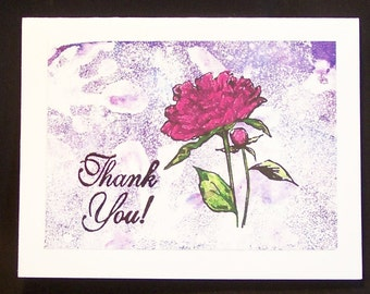 "Thank You Cards, Thank You Notes, Hand Embossed - Set of Two, 5 1/2"" x 4 1/4"" - Pink Carnation on Purple and White, Blank Note Card"