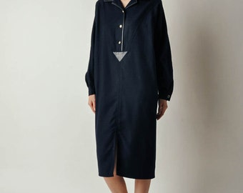Vintage Max Mara Navy Wool Dress