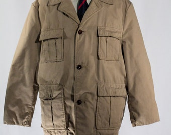 Men's Size 48 Beige Vintage Overcoat with warm cozy Brown Lining #2206