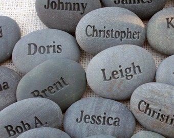 Name Rocks - personalized gifts for party, family reunion, corporate or business event. - engraved name stones - set of 2 to 10
