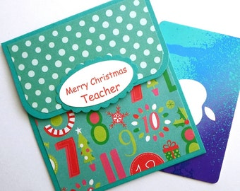 Teacher Christmas Gift Card Holder - Merry Christmas Cards for Teachers, Teacher Gift Card Holder, Teacher Cards