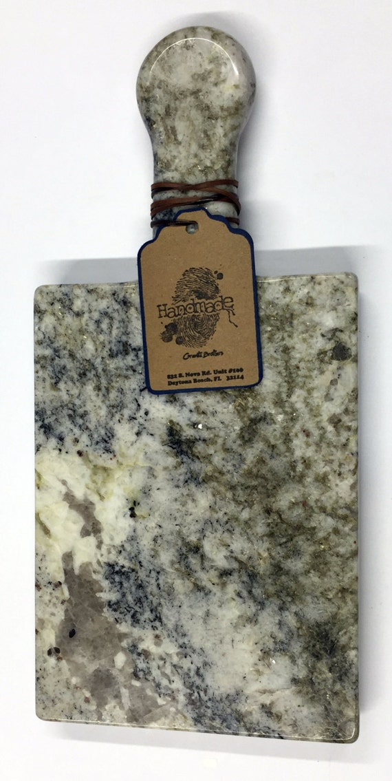 Granite Cheeseboard - Stone Color White Fusion - Artisan Crafted Kitchen Accessory Serving Cheese Snack Tray Houseware