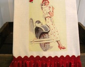 Retro Vintage Farmhouse cotton Kitchen dish towel Sunday Afternoon Drive Tattered ruffles ECS RDT