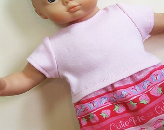 Bitty Baby or Bitty Twin Doll Clothes - Pink Strawberries and 'Cutie Pie' Print Skirt with Pink Tee