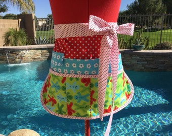 Ready to ship, Gingerbread Men Vendor Aprons, Women Aprons, Half Apron with 6 pockets, Stocking Stuffers, Holiday Apron