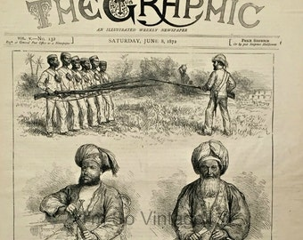 Antique Victorian Newspaper Cover. The Graphic, dated June 8, 1872. wood engraving. The Livingstone Expedition