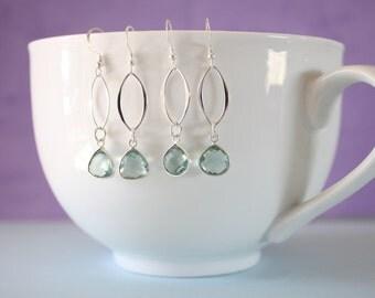 Mint Sterling Silver Earrings, Crystal Karma Infinity Earrings, Infinity Jewelry, Bridesmaid Gift, Sterling Silver Earrings, Dangle Earrings