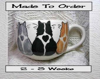 Cat Trio Jumbo Soup or Latte Mug Handmade Earthenware Ceramic by GMS