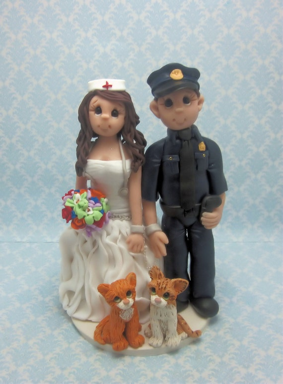 police officer and nurse wedding cake topper officer and wedding cake toppercustom wedding 18671