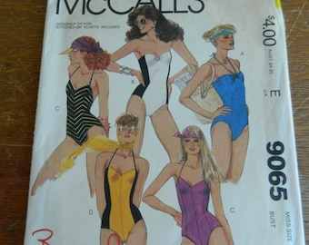 Misses One Piece Bathing Suits with Shaped Seaming and High Cut Legs, McCall's 9065, Stretch Knits, Size 8 Bust 31 1/2 cut Vintage Pattern