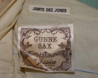 Vintage Gunne Sax Wedding Dress, By Jessica McClintock San Francisco, Bohemian Style, Lace Sleeves, Maxi Dress, Beach Wedding Dress, Cotton