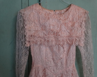 Peach Lace Dress, Gunne Sax Style, Wedding Dress, Formal Dress, Champagne / Peach Color, Lace Formal Wedding Dress, Lace Sleeves
