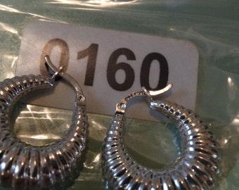 Sterling Silver Loop Earrings, 925 Sterling, Ridge Hollow Hoop Earrings, Lot #0160