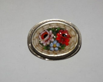Mosaic Brooch Flower Brooch Mosaic Pin Mosaic Jewelry Antique Jewelry Micro Mosaic Brooches Italian Victorian Jewelry