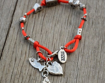 Kabbalah Red String Cube Charm Bracelet with Lucky Charms, Hamsa Charm, Fish Charm, Heart Charm, 72 Names of God Charm