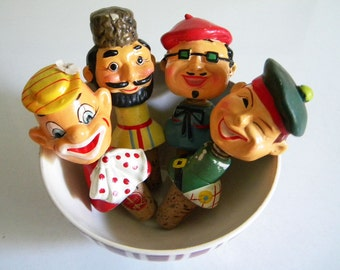 4 Vintage Rubens Originals Bobble Head Bottle Stoppers with Corks Clown Beatnik Frenchman and Russian