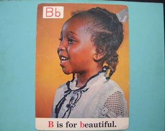 Rare Vintage 13 x 18 Classroom Poster B is for Beautiful Black Americana ABC s 1970