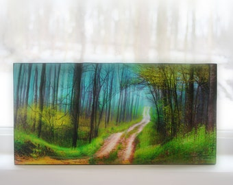 Spring green, 6x12 inches, wood mounted, Original mixed media photograph, painting, drawing added, #Michigan art, #Original art, #Wall art