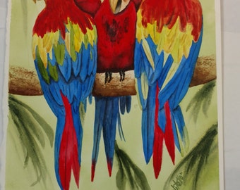 SALE Three Parrots Jungle Watercolor Painting