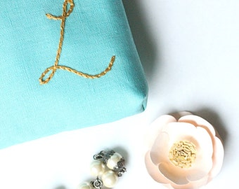Personalized Makeup Bag, Monogram Pouch, Initial Gift for Her, Bridesmaids, Teachers, Friends, Tiffany Blue and Gold