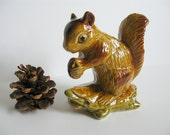 "Squirrel Vintage Figurine Glazed Pottery 5"" Tall Brown Gold Primitive Rustic Folk Art Autumn Fall Thanksgiving Decor Farmhouse Shabby Chic"