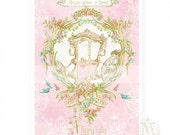 Once upon a time, print, princess, carriage, pink, gold, baby girl, blue birds, nursery decor, fairy tale print, home decor