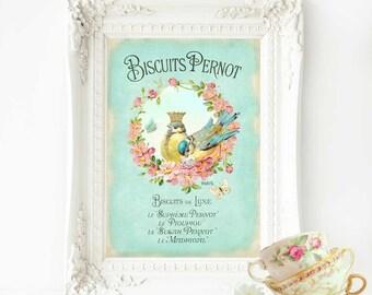 Bird print, French vintage, crowned bird, kitchen print, A4 giclee