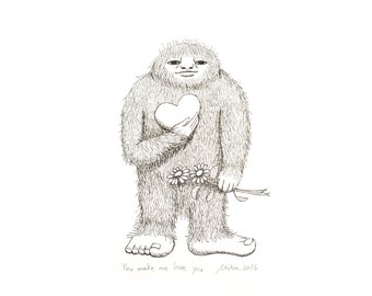 Bigfoot Sasquatch Art Print Funny First Paper Anniversary Gift for Her Bigfoot Illustration Print Black & White Wall Decor Love Illustration