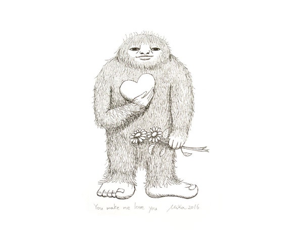 Funny First Paper Anniversary Gift for Her Bigfoot Sasquatch Art Print Bigfoot Illustration Print Black & White Wall Decor Love Illustration