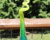 Aqua Blue to Lime Green Variegated Glass Piggy Tail Glass Garden Art Sculpture Garden Finial Outdoor Decoration