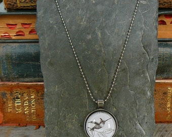 Hummingbird - dictionary illustration pendant necklace