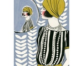 Art Deco print - art print . 4 for 3 SALE - Art Deco Doll in the Mirror 4 X 6 print
