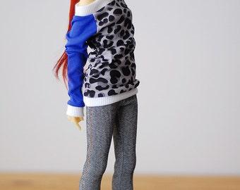 Gray denim jeggings jeans - Slim Mini MSD BJD clothes