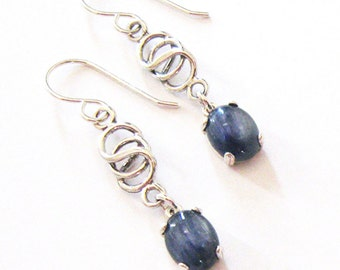 Kyanite Earrings, Blue Kyanite Drops, Sterling Silver Celtic Knot, Interlocking Circles, Gemstone Cabochons