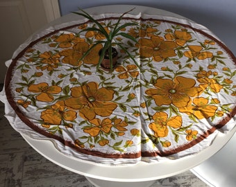 Vintage Tablecloth - Flower Power - Oblong - Small - 46 x 38 - Decorator Table