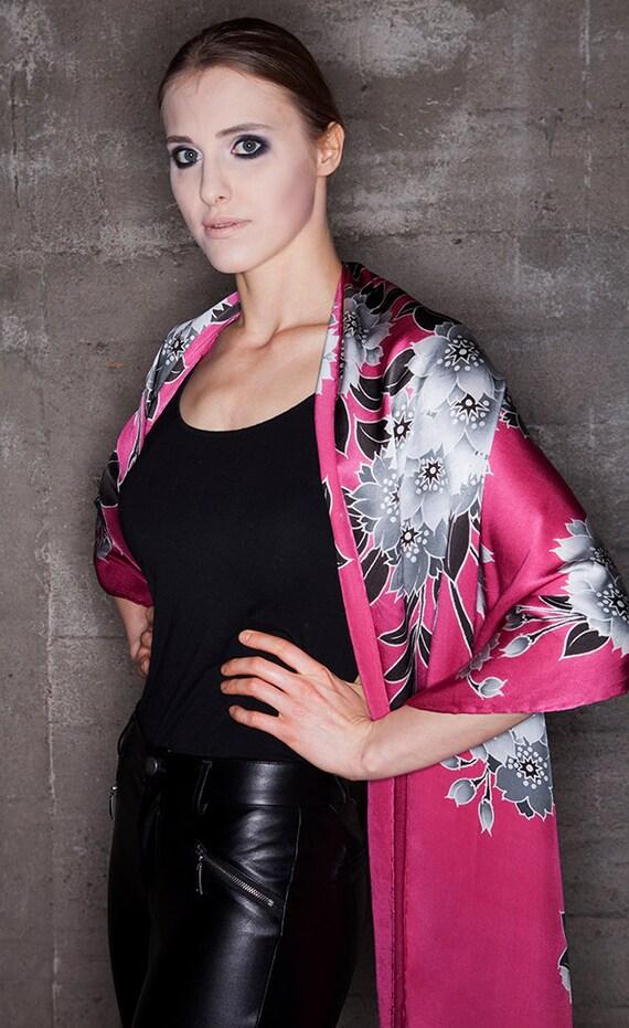 Flower silk scarf, Silk scarf handpainted, Batik scarf, hand made, Luxury silk scarf, red scarf, Cherry blossom, Gift for girlfriends