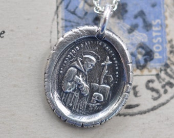 Saint Francis of Assisi medal pendant - St. Francis of Assisi wax seal necklace - patron saint for ecologists - skull wax seal jewelry