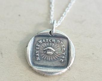 all seeing eye wax seal necklace - may it watch over you - masonic eye - sterling silver antique wax seal jewelry